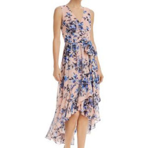 ELIZA J Floral Wrap Front High Low Dress Belt Boho